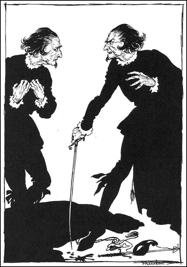 """Byam Shaw's illustration for Poe's William Wilson in """"Selected Tales of Mystery"""" (London : Sidgwick & Jackson, 1909)"""